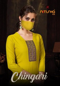 Nitisha Nx Chingari Casual Wear Kurtis With Face Mask ( 6 Pcs Catalog )