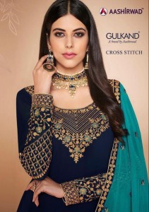 Aashirwad Cross Stitch Straight Long Party Wear Salwar Kameez In Wholesale Price ( 6 pcs catalog )