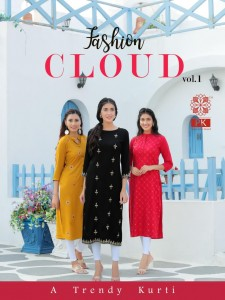 pk fashion cloud vol - 1 straight party wear kurti in wholesale price ( 6 pcs catalog )