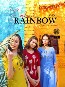 Pk Fashion Rainbow Vol 3 Straight  Designer Cotton Embroidery Kurti Collection ( 21 Pcs Catalog )